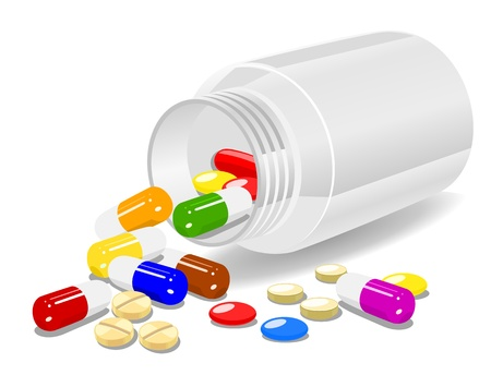 vitamins pills: Medicine on white background Illustration