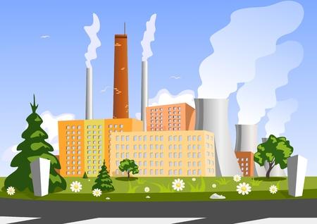 industria quimica: F�brica, ilustraci�n vectorial