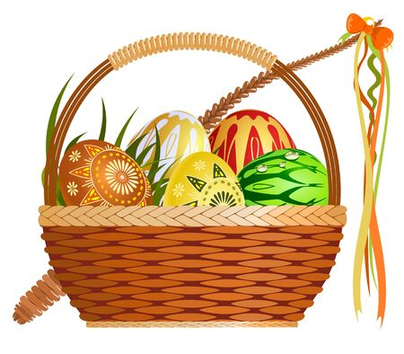 handicraft: Basket with easter eggs