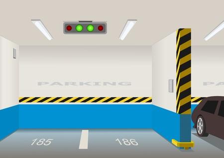 Lege parkeerplaats gebied. Vector illustratie