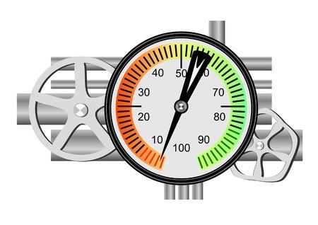 gas gauge: Fuel meter, tubes and valves.