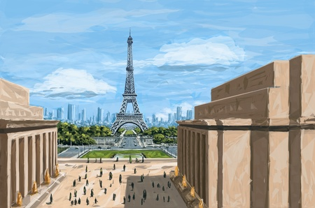roughly: Paris. Speed painting (digital sketch) Stock Photo