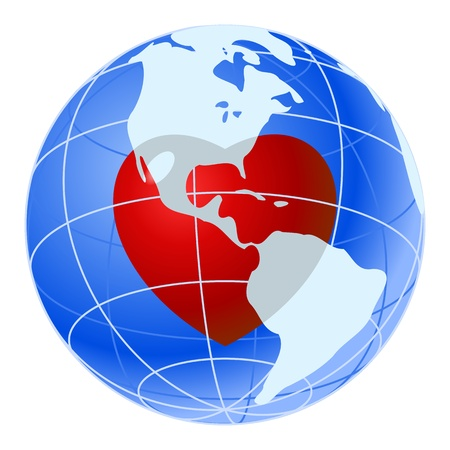 Red heart of blue earth planet Vector