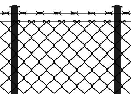 hierro: Alambre de la cerca con alambres de púas. Ilustración vectorial