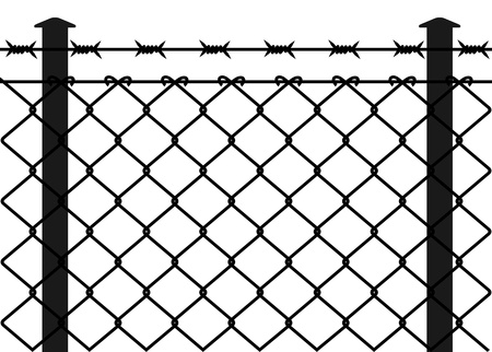 prison system: Wire fence with barbed wires. Vector illustration Illustration