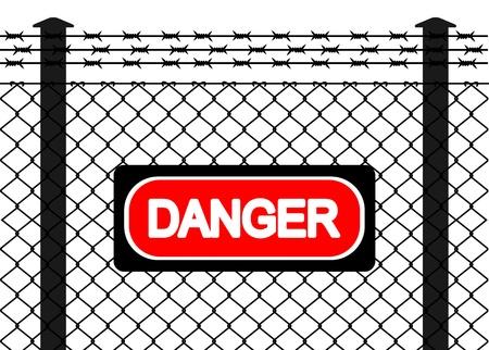 barbed wires: Alambre de la cerca con alambres de p�as. Ilustraci�n vectorial