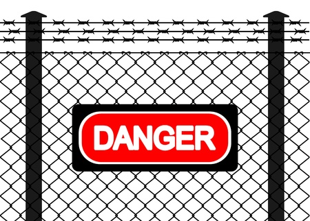 Wire fence with barbed wires. Vector illustration Stock Vector - 12307751