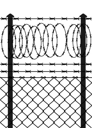 wire mesh: Wire fence with barbed wires. Vector illustration Illustration