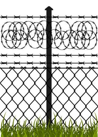 barbed wire fence: Wire fence with barbed wires  Vector illustration Illustration