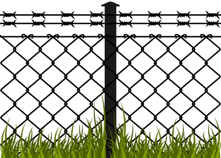 wire mesh: Wire fence with barbed wires  Vector illustration Illustration