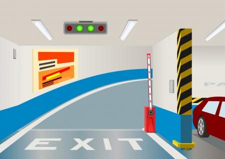 Ondergrondse parking garage.illustration