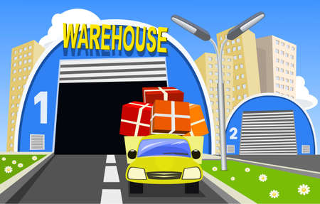 Warehouse and delivery truck Vector