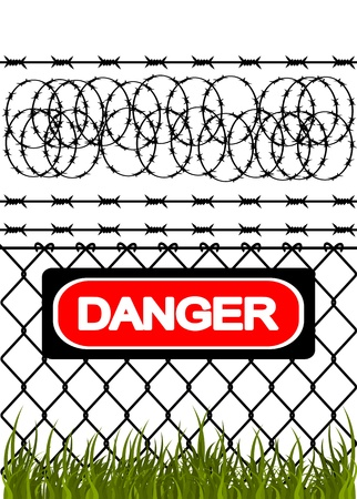 Wire fence with barbed wires. Vector illustration Stock Vector - 12962663