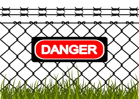 perimeter: Wire fence with barbed wires. Vector illustration Illustration