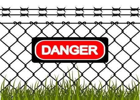 barbed wire fence: Wire fence with barbed wires. Vector illustration Illustration
