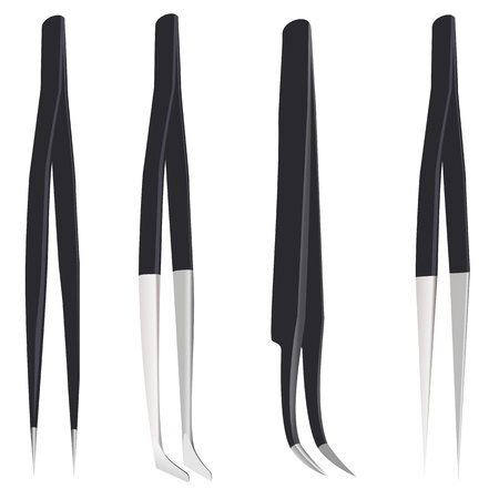 Set of steel tweezers Vector
