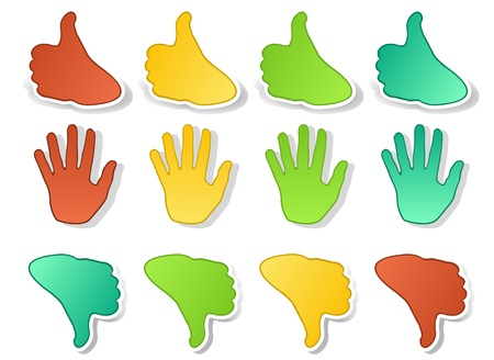 Hands expressions stickers Vector