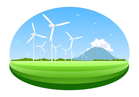 electrical energy: Wind turbine. Concept of ecology and environment. Illustration