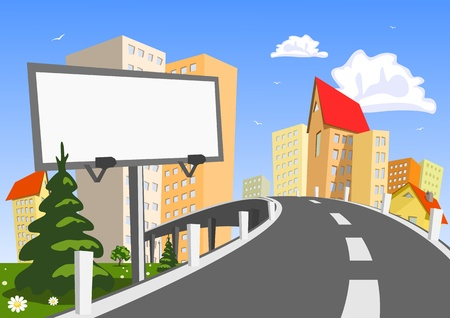 blank center: Abstract vector city with billboard