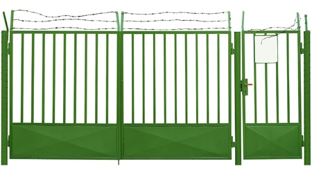 Old gate with barbed wire Stock Photo - 13640232