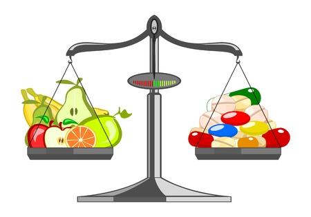 Fresh fruit versus pile tablets Vector