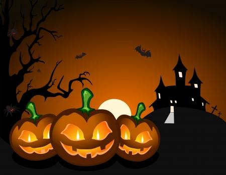 Halloween pumpkin and haunted castle Vector