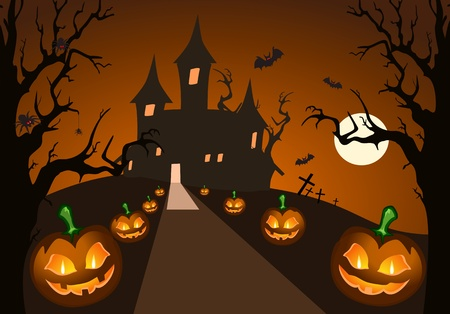 Halloween pompoen en spookkasteel Vector Illustratie
