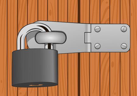 Closeup wood door with padlock Stock Vector - 13955185