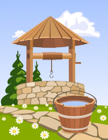 Old wooden well and bucket of water Vector