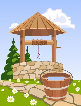 seau d eau: Vieux puits en bois et un seau d'eau