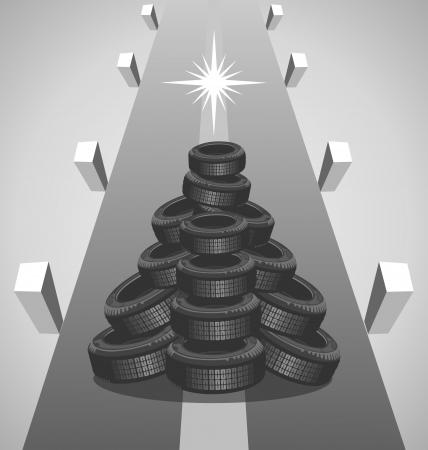 Heap autobanden als een kerstboom