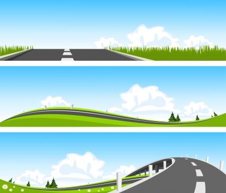 carretera: BANDERA - Camino a trav�s de la naturaleza. Vector