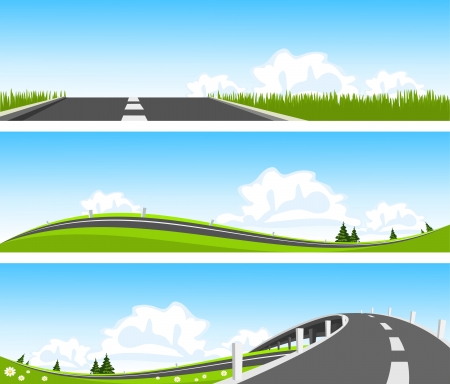 BANNER - Way through nature. Vector Vector