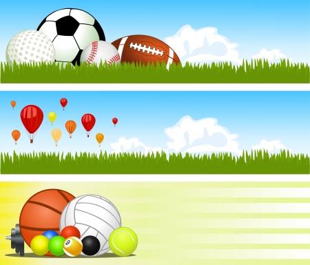 balon voleibol: Banderas deportivas. Vector