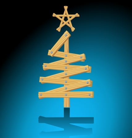 Wooden Christmas tree design Vector
