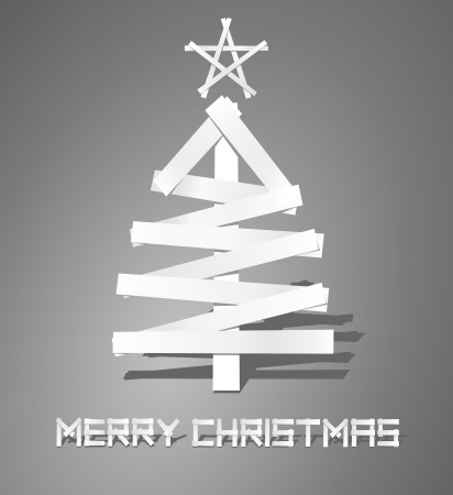 Christmas tree from paper strips Vector