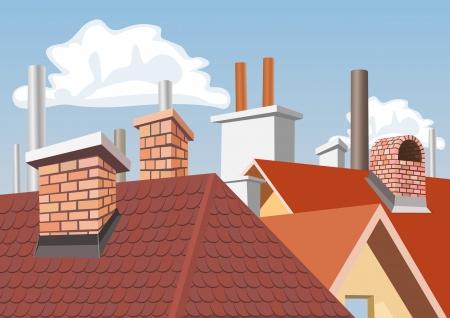 Cheminées sur les toits des maisons Illustration