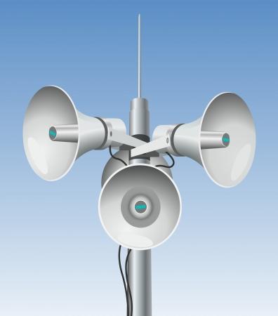 music loudspeaker: Speakers - megaphones on a pole
