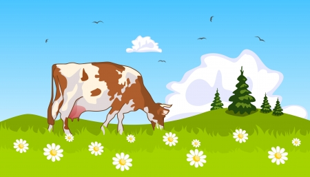 Cow in the meadow at the edge of grove Vector