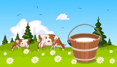 버킷: 전경에서 우유의 초원 통에 소 일러스트