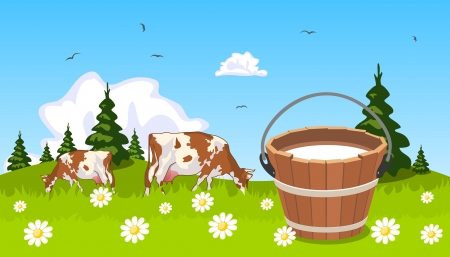 Cow on meadow bucket of milk in the foreground Illustration