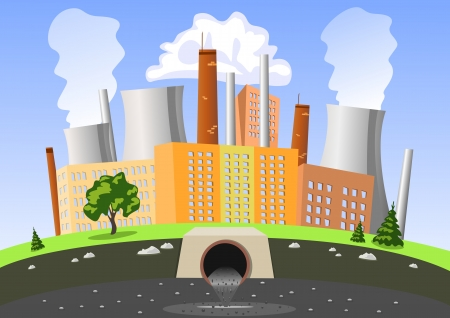 Factory air and water pollution Vector