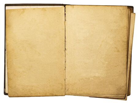 old notebook: Open vintage book isolated on white background