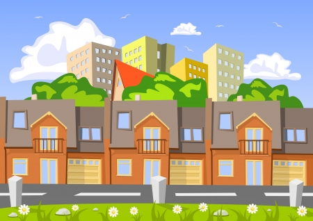 Colorful abstract vector city, row building. Illustration Illustration