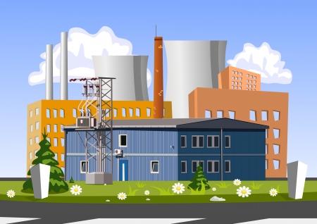 industria quimica: F�brica ilustraci�n Vectores