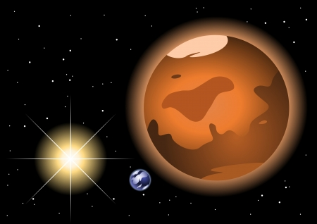 Mars red planet in space to background Vector