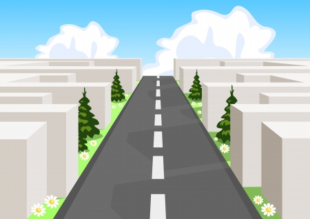 succeeding: Road over a maze cutting through the confusion and succeeding in business and life.