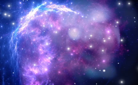 Purple space nebula Stock Photo