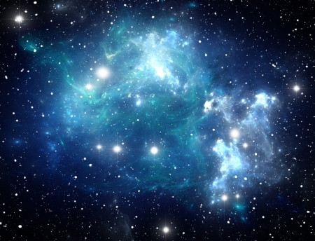 Blue space star nebula Stock Photo