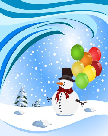 Happy snowman holding colorful balloons. Illustration Stock Vector - 15061221